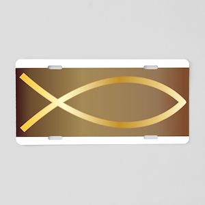 Christian Fish Gold Aluminum License Plate