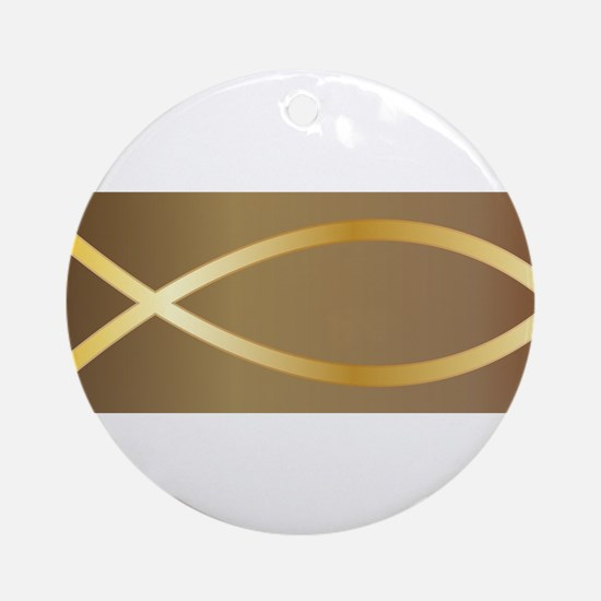 Christian Fish Gold Round Ornament