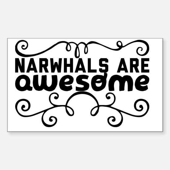 Cute Narwhals are awesome Sticker (Rectangle)