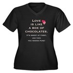 Love Sucks Women's Plus Size V-Neck Dark T-Shirt