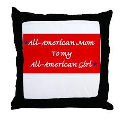 All-American Mom/Girl Throw Pillow