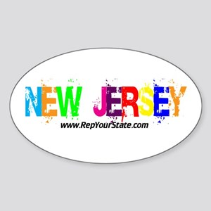 Colorful New Jersey Oval Sticker