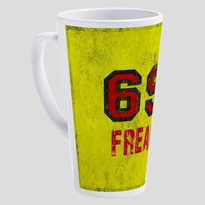 69 FREAK red black yellow vintage 17 oz Latte Mug