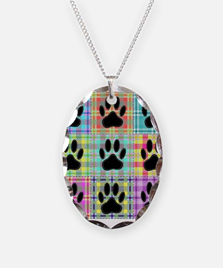 Dog Paw Pattern Quilt Necklace