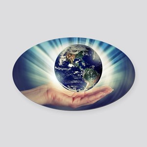 World in Our Hands Oval Car Magnet