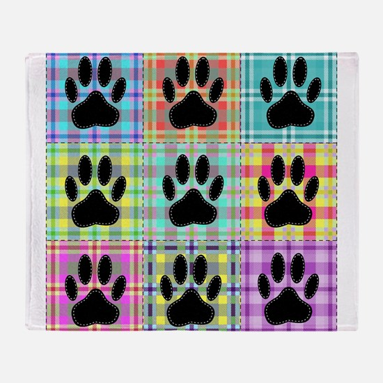 Dog Paw Pattern Quilt Throw Blanket