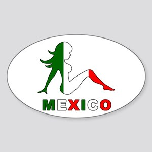 Mexican Mud Flap Girl Oval Sticker