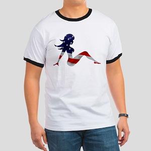 Patriotic Mud Flap Girl Ringer T