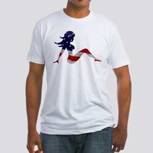 Patriotic Mud Flap Girl Fitted T-Shirt
