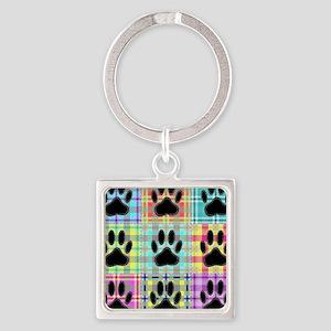 Dog Paw Pattern Quilt Keychains