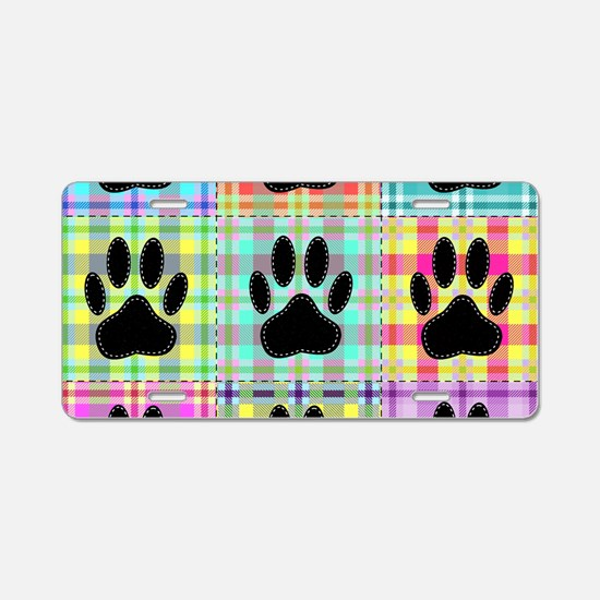Dog Paw Pattern Quilt Aluminum License Plate