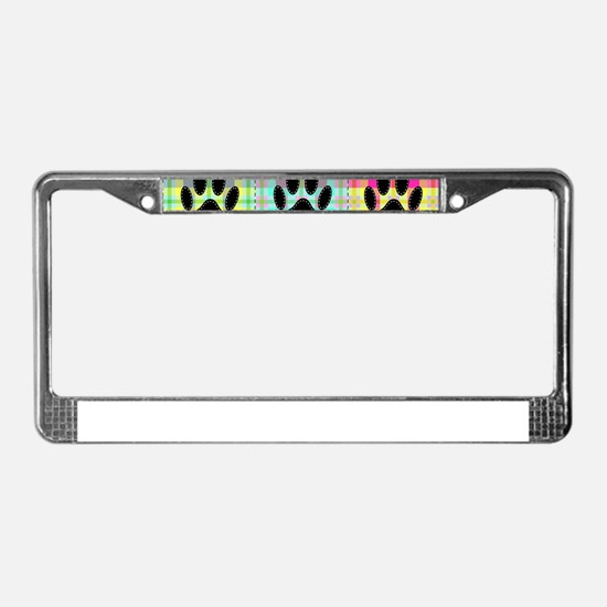 Dog Paw Pattern Quilt License Plate Frame