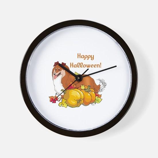 Happy Halloween Sheltie Wall Clock