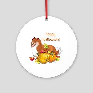 Happy Halloween Sheltie Ornament (Round)