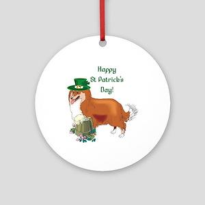 Happy St Patricks Day Sheltie Ornament (Round)