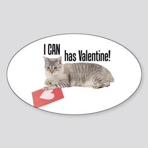 I CAN Has Valentine! Lolcat Oval Sticker