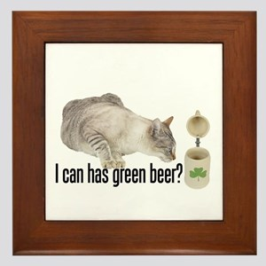 I Can Has Green Beer? Lolcat Framed Tile