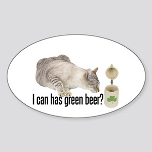 I Can Has Green Beer? Lolcat Oval Sticker