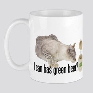 I Can Has Green Beer? Lolcat Mug