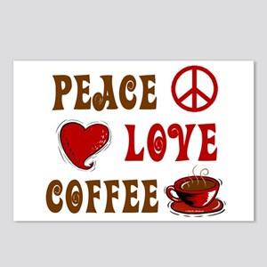 Peace Love Coffee 1 Postcards (Package of 8)