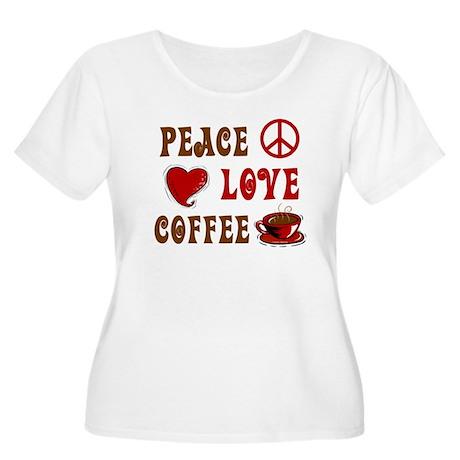 Peace Love Coffee 1 Women's Plus Size Scoop Neck T