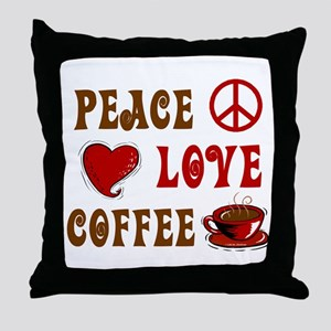 Peace Love Coffee 1 Throw Pillow