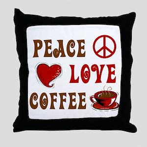 Peace Love Coffee 1 Throw Pillow