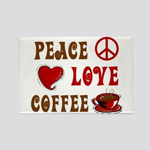 Peace Love Coffee 1 Rectangle Magnet