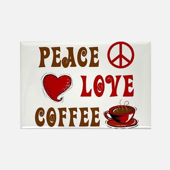 Peace Love Coffee 1 Rectangle Magnet