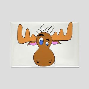 Cartoon Moose Antlers Rectangle Magnet