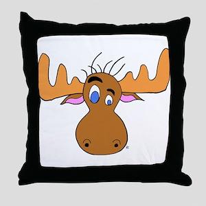 Cartoon Moose Antlers Throw Pillow