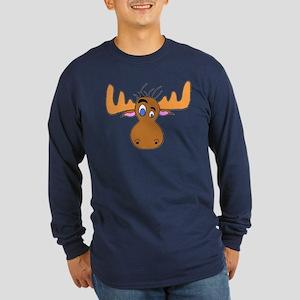 Cartoon Moose Antlers Long Sleeve Dark T-Shirt