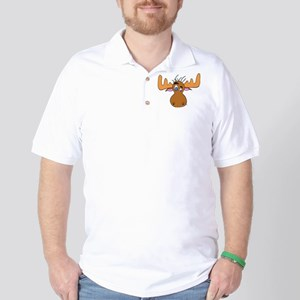 Cartoon Moose Antlers Golf Shirt