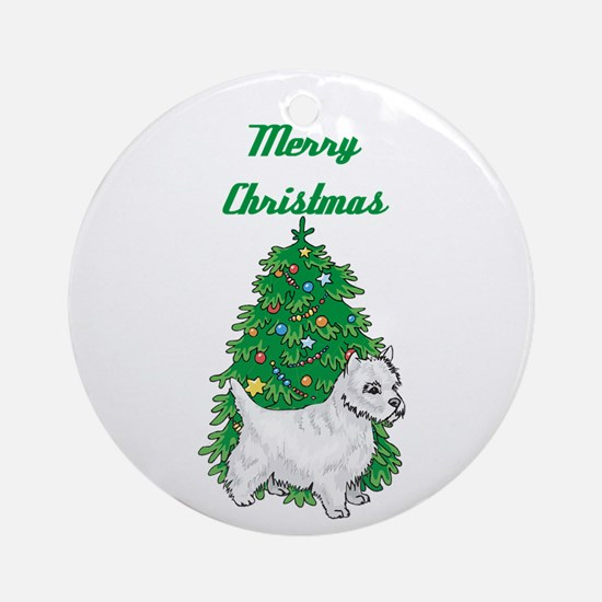 A Westie Christmas Tree Ornament (Round)