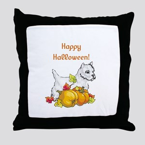 Happy Halloween Westie Throw Pillow