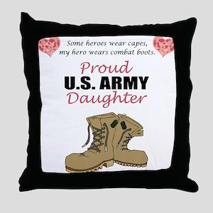 Proud US Army Daughter Throw Pillow