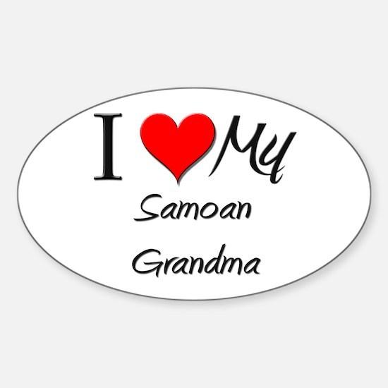 I Heart My Samoan Grandma Oval Decal