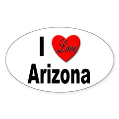 I Love Arizona Oval Decal