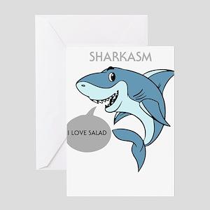 Sharkasm I Love Salad Design Shark Greeting Cards