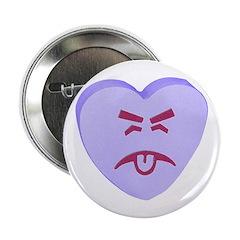 Blue Yuck Face Heart 2.25