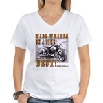 WIDE WHITES on a BIKE Women's V-Neck T-Shirt