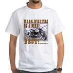 WIDE WHITES on a BIKE White T-Shirt