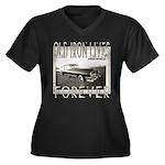 OLD IRON Women's Plus Size V-Neck Dark T-Shirt