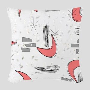 Boomerangs in Pink Woven Throw Pillow
