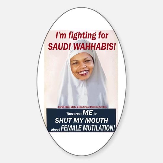 Condi Rice - Dhimmi for FGM Oval Decal