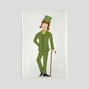 Brown Hair Gentleman in Green Suit Rectangle Magne