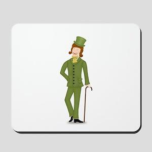Brown Hair Gentleman in Green Suit Mousepad