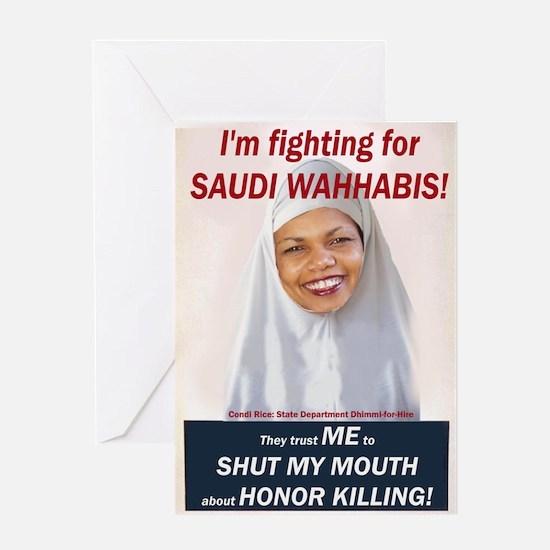 Condi Rice - Honor Killing Apologist Greeting Card