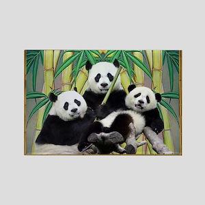 Black Panda Family Rectangle Magnet