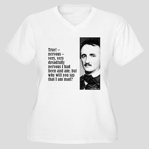 """Poe """"Nervous"""" Women's Plus Size V-Neck T-Shirt"""